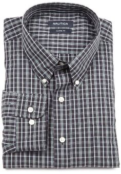 Nautica Men's Non-Iron Plaid Button-Down Shirt $30.83