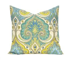 Latika Pool Pillow Cover, Beautiful shades of aqua and lime green on an off white background. Quality linen fabric.