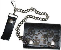 Harley Davidson® Men's Black Skull Tri-Fold Biker Chain Wallet. Embossed. SH304