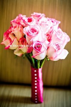 Pink Roses Wedding Bouquet Hand Tied With Hot Pink Ribbon + Corsage Pins ~~