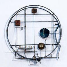 "Gina Kamentsky, One Thing, 2011, Kinetic Wall Sculpture (found objects, steel rod), 14 x 14 x 4"" at William Baczek Fine Arts www.wbfinearts.com"