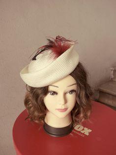 SALE !! Pillbox Hat White Black Wine Red Vintage Kangol Hat Ostrich Feathers Tea…