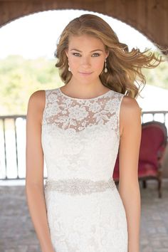 Another amazing #neckline - love the #lace detail and the beaded waistband {Madison James}