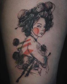 traditional Korean woman watercolor tattoos by NADi