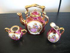 Limoge Fushia Victorian Couple Miniature Tea Set Kettle Creamer Sugar