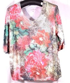 Woman Within Plus Size Top Size 3X Tunic Blouse Shirt Floral Multi-Color V-Neck #WomanWithin #Tunic #Casual