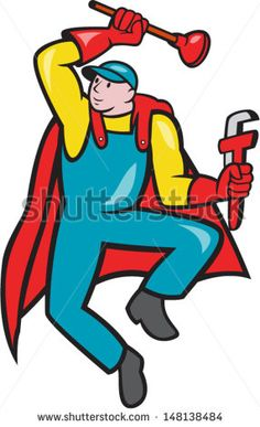 Illustration of a superhero super plumber jumping with cape holding monkey wrench and plunger done in cartoon style on isolated background. - stock vector #plumber #cartoon #illustration