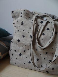 Du lin + des petits tampons = une idée custo tissu