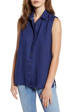 Women's Tommy Bahama Coastalina Sleeveless Button Up Shirt, Size Medium - Blue Tommy Bahama, Eileen Fisher, Sunnies, Button Up Shirts, Summer Europe, Nordstrom, Medium, Tops, Blue