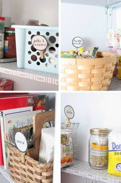 Use baskets and bins to organize pantry, Craftivity Designs on Remodelaholic.com #pantry #organized #ideas