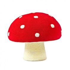 Anne Claire Petit Crochet Mushroom Pouf - Red Dots