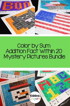 Each of these fun themed worksheets has students solve a variety of addition problems within 20. Problems are repeated to encourage students to commit the addition facts to memory and develop fluency. After the students solve each problem, they use a key to color each square to reveal a mystery picture. This activity works great as a whole class activity, math center or a fast finisher. Each worksheet has a colored answer key to show what the finished mystery picture looks like. First Grade Science, First Grade Writing, First Grade Activities, Teaching First Grade, Teaching Math, Math Activities, Math Fact Fluency, Addition Facts, Math Facts