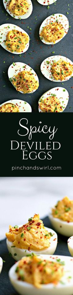 If you& wondered how to make spicy deviled eggs, this recipe is for you! A spicy sriracha kick and a sprinkle of red chili flakes take creamy deviled eggs from just okay to extraordinary! Easy Appetizer Recipes, Yummy Appetizers, Brunch Recipes, Breakfast Recipes, Egg Recipes, Real Food Recipes, Cooking Recipes, Yummy Food, Spicy Recipes