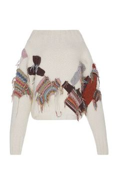 This **Tuinch** Patched Sweater features a wide stretchy neckline with embroidered patch work on the front and back.