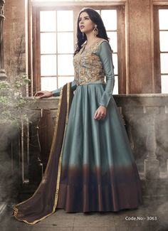 Blue And Brown Party Wear Anarkali Style Suit With Jacket Silk Anarkali Suits, Anarkali Lehenga, Lehenga Suit, Party Wear Lehenga, Party Wear Dresses, Designer Salwar Suits, Designer Anarkali, Indian Dresses, Indian Outfits