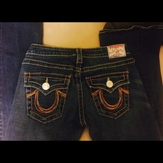 True Religion Jeans Rainbow Joey Size 28 Great Condition True Religion Rainbow Joey Jeans Size 28  These  jeans will look great on you!  A little distressed on the cuff of the jeans. True Religion Jeans