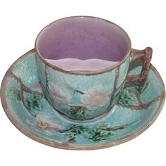 Victorian Majolica Rose and Rope Mustache Cup + Saucer from ...