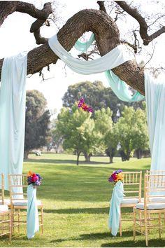 LOVE this ceremony decor via StyleUnveiled.com / Stephanie Hogue Photography / Vintage Broach Wedding / Jewel Tones