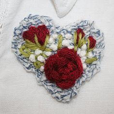Embroidered and Knitted Brooch  Red Rose Heart by Lynwoodcrafts, £7.50