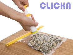 Keep your food fresh and avoid icy lumps in the freezer. Clicca Vacuum Pack offers a quick and easy way to vacuum seal your food. The valves can be used on most types of bags.