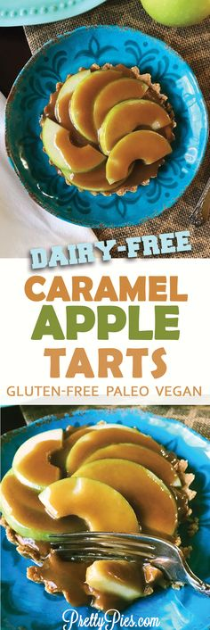 These individual Caramel Apple Tarts have a buttery, grain-free crust smothered in smooth caramel, loaded with crisp green apples. Dripping with gooey fall deliciousness (without any dairy, gluten or sugar!)  Perfect for #Thanksgiving #vegan #paleo - PrettyPies.com