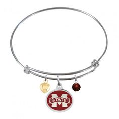 Stainless Steel One Crystal College Jewelry Petite Mississippi Ole Miss Rebels Bangle Bracelet with 10mm Charm No Crystals One Crystal