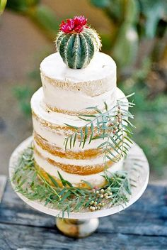 24 Delicious Prickly Wedding Cakes And Cupcakes ❤ See more: http://www.weddingforward.com/prickly-wedding-cakes/ #weddings #cakes