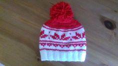 christmas knit hat white knit beanie unisex by UniqueKnitDesign