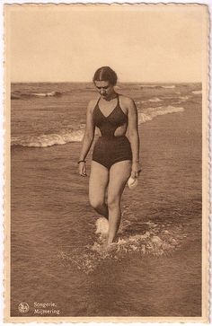 Vintage bathing suit 30s 40s fashions unique vintage style cut out sides woman on beach found photo