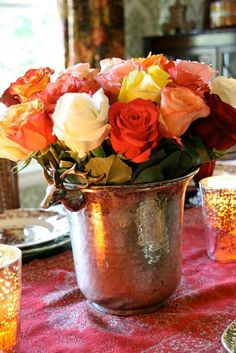 pretty fall centerpiece - perfect for the little coal bucket or the coral pitcher