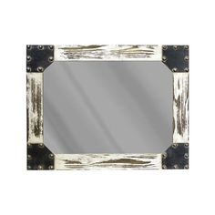 Pairing a distressed finish with an understated design, this statement-making mirror instantly elevates your decor collection. Add it to the den to match a factory-inspired arrangement or use it to round out a bold boho look in the living room. Its weathered finish pairs perfectly with country-chic accents while its rivet details add industrial flair to any space. Pair this piece with antiqued gear decor for a complementing look or hang it on a bare wall to accentuate its unique design…