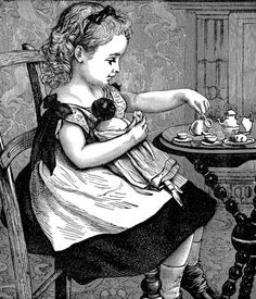 """Taking tea"" - Illustration fron the children's book ""Arm chair stories"" by O. M. Dunham; Cassell & Company (1886)"