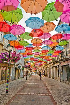 Umbrella Street in Agueda