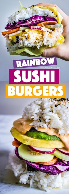 Get your kids involved with piling on the vegetables in these Rainbow Sushi Burgers for a meatless meal the whole family will love.