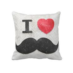 My future snuggle. I heart / Love Mustaches vintage damask Throw Pillow by _Angelique_ #zazzle #mustache