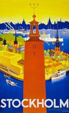 Stockholm by Iwar Donnér in 1936 as a color lithograph at 100 x 62 cm. Published by the Stockholm: Swedish Traffic Association. Poster shows tower of Stockholm's city hall and a bird's eye view of the harbor.