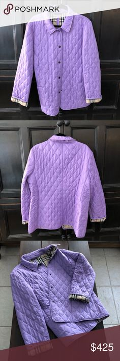 Authentic Burberry Quilted Coat Lavender Never worn Authentic Burberry Coat, beautiful color! Burberry Jackets & Coats