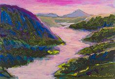 "Ellen Levine Dodd - ""Wailua River"" -  casein, acrylic mixed media on cradled wood panel - 14.5""w x 10""h"