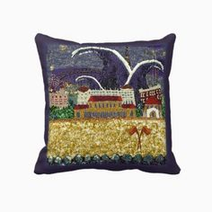 "Large Square Pillow with sequin art print  ""Purple Haze"" by Sequin Dreams Studio ~ Ange Irwin"