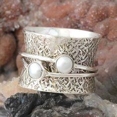 925 STERLING SILVER FANCY LADIS PEARL RING 7.11g DJR9916 SZ-6 #Handmade #Ring