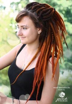 Beautiful smooth felted orange wool dreads made by #GuzikPrawda https://www.facebook.com/GuzikPrawda.