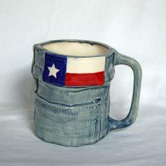 Texas Flag Blue Jean Mug on Etsy, $20.00
