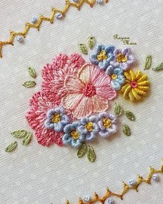 different kinds of hand embroidery stitches Hand Embroidery Flowers, Hand Embroidery Stitches, Silk Ribbon Embroidery, Crewel Embroidery, Hand Embroidery Designs, Embroidery Techniques, Embroidery Kits, Creative Embroidery, Quilling Patterns