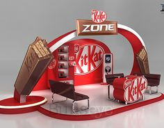 Kitkat Zone on Behance Exhibition Stall, Exhibition Stand Design, Exhibition Display, Pop Display, Display Design, Pop Design, Design Model, Cinema 4d, Promotional Stands