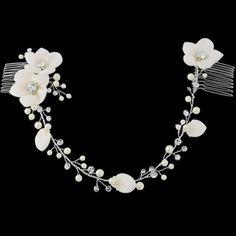 Couronne de Fleurs perles & cristaux Headband bijoux de tête - Coiffure Mariée - Chignon Mariage - glamour et chic
