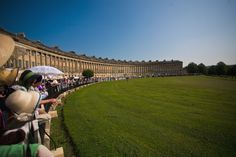 Jane Austen Festival--Everyone dresses in Regency Clothes and gathers in the Royal Crescent and then goes and has Tea and Crumpets. Bath, England