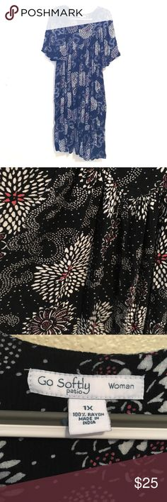 Black Floral Loose Flowing Mumu Black and White, with pink accents.  Very full skirt, wide flowing sleeves.  Pockets. Little flounce at the bottom.  Machine washable.  Hardly worn. Go Softly Dresses