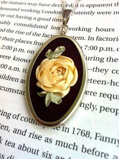 Purple and Cream Rose Pendant Necklace, Silk Ribbon Embroidery by BeanTown Embroidery