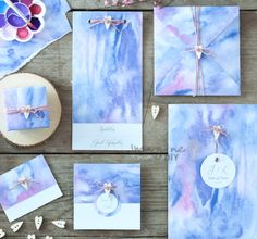 How to make your own DIY wedding stationery with watercolour theme. Lilac and pinks