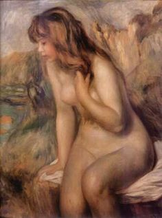 Renoir/ Baigneuses assise sur un rocher----    The human body really is a masterpiece. Renoir loved to display this through his art.